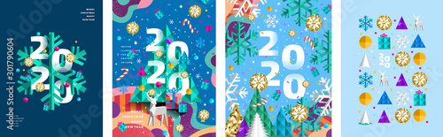Obraz 2020! Merry Christmas and a happy new year! Modern abstract geometrical illustration of a Christmas tree, snowflake and toys for the holiday poster, banner, card, background or pattern - fototapety do salonu