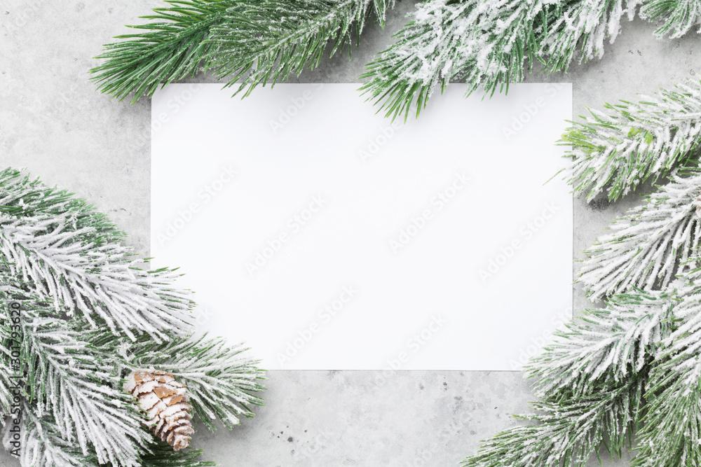 Fototapety, obrazy: Christmas card with fir tree