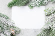 canvas print picture - Christmas card with fir tree