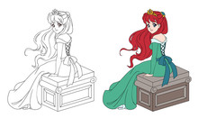 Beautiful Princess In Green Dress Sitting With Long Red Hair.