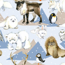 Seamless Pattern With Cute Arctic Animals. Polar Wild Nature Watercolor Background.
