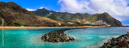 Amazing nature of volcanic Tenerife island - beautiful Las Teresitas beach, Canary islands of Spain