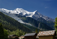 Hike From Chamonix Up To La Jonction Glacier Des Bossons. Mont Blanc Massif, French Alps, Chamonix, Bosson Glacier, France, Europe.