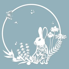 Rabbit, Hare In A Round Frame,...