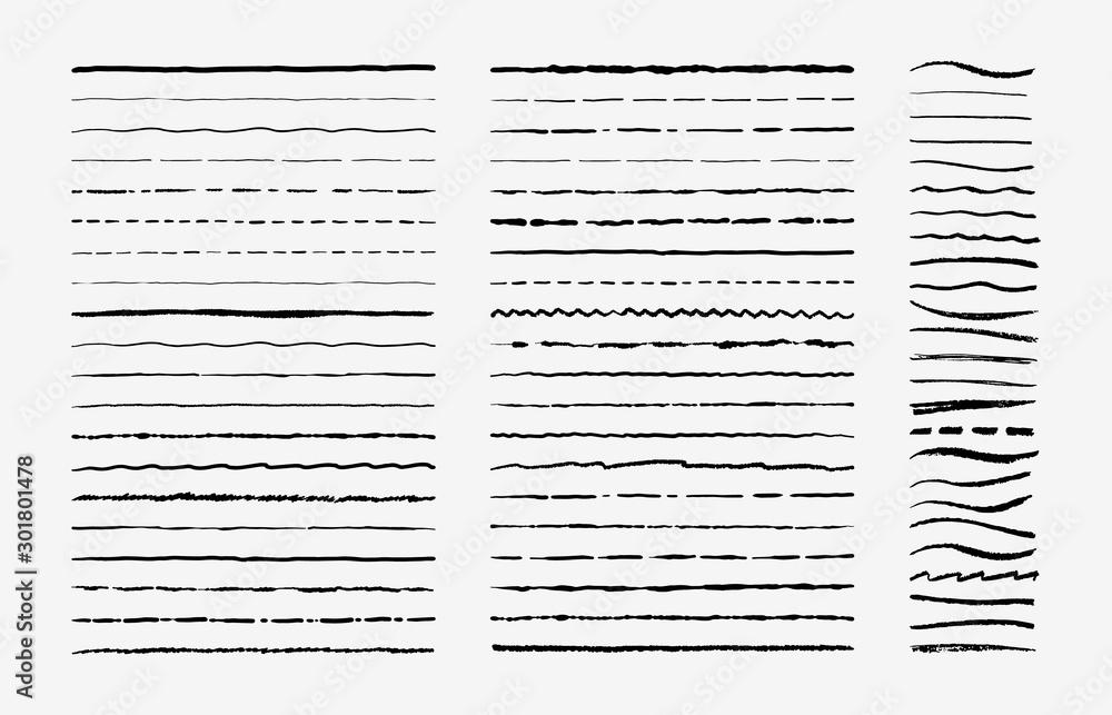 Fototapeta Hand drawn doodle brush lines. Vintage hand drawn underline border elements, pencil sketch stroke decoration. Vector illustrations monochrome pen marker scribble vintages ornament