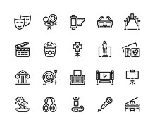 Entertainment Line Icons. Cine...