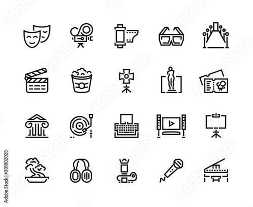 Entertainment line icons. Cinema and theater sound and music arts, photo and video shooting. Vector illustrations movie and tv symbols series set