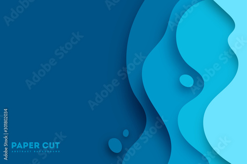 Photographie Abstract blue paper cut vector realistic relief
