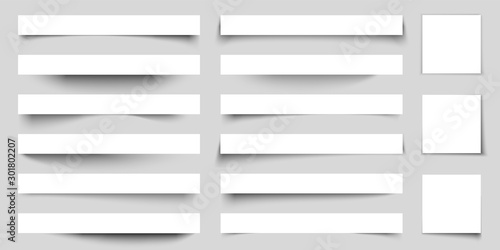 Realistic paper shadow effects. Web banners shadows with corners. Poster flyer set. Vector sticker with curved edges cast shadows on a gray background
