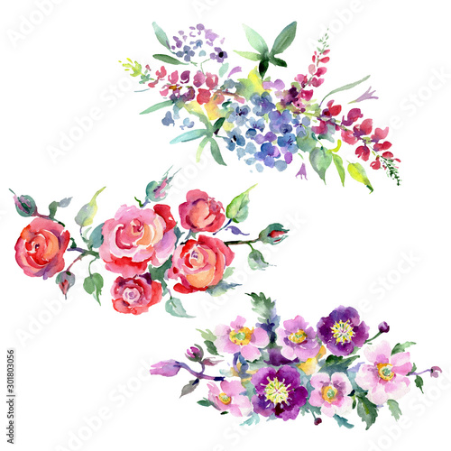 Fototapety, obrazy: Bouquet floral botanical flowers. Watercolor background illustration set. Isolated bouquets illustration element.