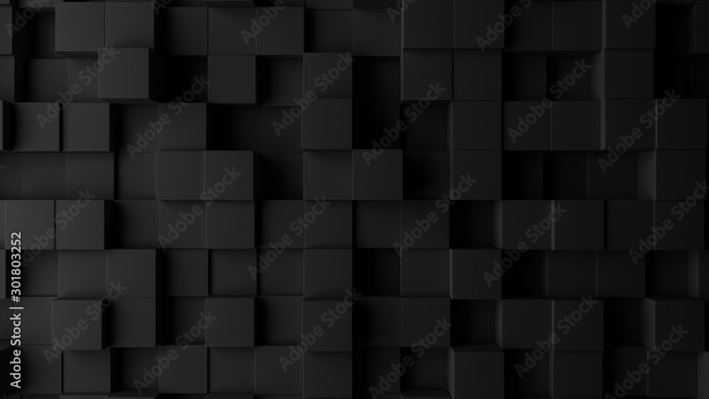 Fototapety, obrazy: Dark squares abstract background. Realistic wall of cubes
