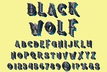 Typeface Font 3d, Grunge Vector Black Wolf