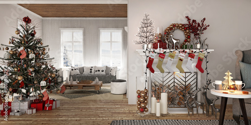 Fotografija  New year tree in scandinavian style interior with christmas decoration