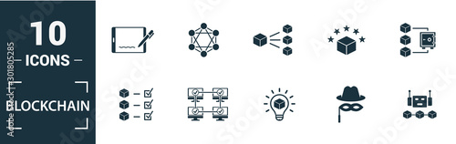 Fotomural Blockchain icon set