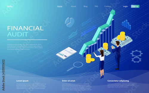 Fototapeta Financial statement, analysis and statistic online servises, money cash accounting isometric vector. Financial management concept. Auditing, business analysis concept with characters. obraz