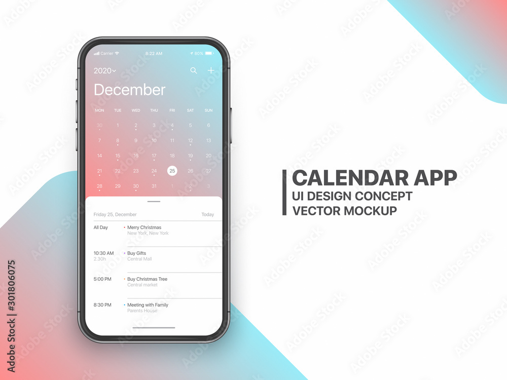 Fototapeta Calendar App Concept December 2020 Page with To Do List and Tasks UI UX Design Vector Mockup Smartphone Iphone 11 Screen Isolated on White Background. Planner Application Template for Mobile Phone