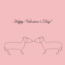 Valentines Day Card With  Dach...