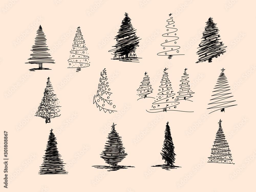Fototapety, obrazy: Set of Christmas tree hand drawn. Vector illustration. Hand drawn doodle sketch with ink. Vector illustration set