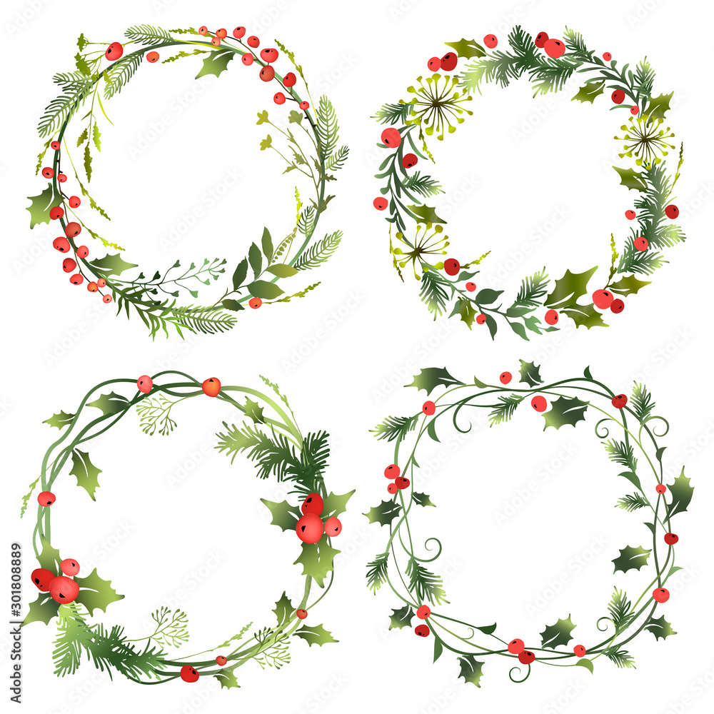 Fototapeta Set of decorative Christmas wreaths with mistletoe leaves, fir branches and holly berries. Vector illustration.