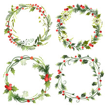 Set Of Decorative Christmas Wr...