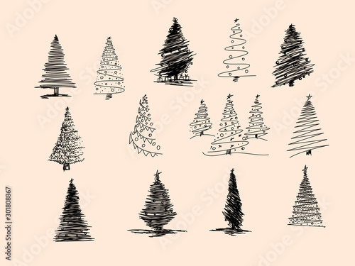 Set of Christmas tree hand drawn. Vector illustration. Hand drawn doodle sketch with ink. Vector illustration set - 301808867