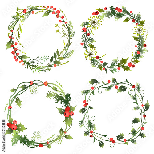 Set of decorative Christmas wreaths with mistletoe leaves, fir branches and holly berries Fototapeta