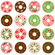 Set Of Christmas Donuts Isolated On White Background, Vector