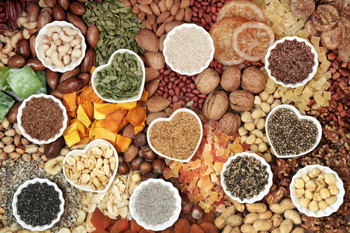Dried fruit nut and seed collection forming a background Canvas Print