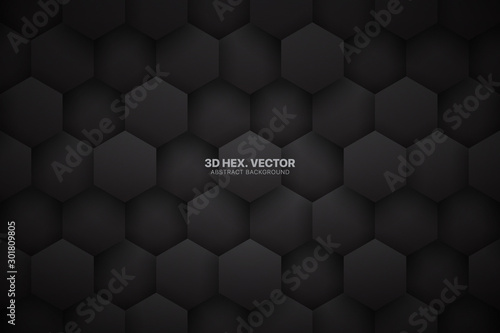 Fototapety, obrazy: Dark Gray 3D Vector Tech Hexagonal Blocks Pattern Abstract Background. Science Technology Hexagons Grid Structure Black Conceptual Wallpaper. Three Dimensional Clear Blank Subtle Textured Backdrop