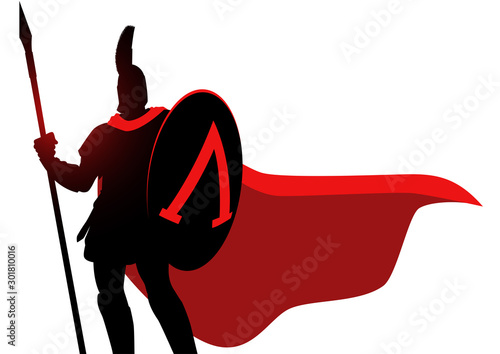Foto Spartan warrior wearing helmet and red cloak