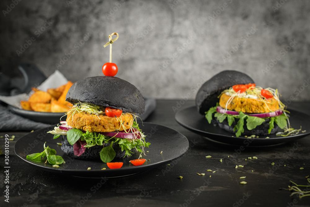 Fototapeta Tasty grilled veggie burgers