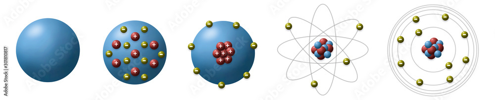 Fototapeta Evolution of atomic model from different scientists show historical models of the atom use for basic in chemistry.