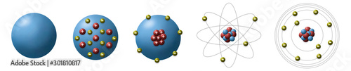 Photo Evolution of atomic model from different scientists show historical models of the atom use for basic in chemistry