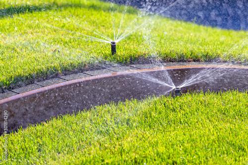 Fotografia Automatic underground irrigation sprinkler system