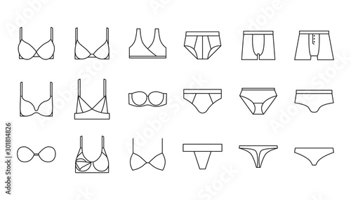 Obraz Underwear, bra, panties, lingerie vector icons set - fototapety do salonu
