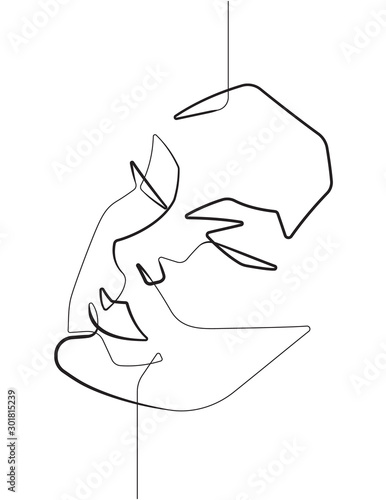 Serene Female Face One Single Continuous Line Vector Graphic Illustration