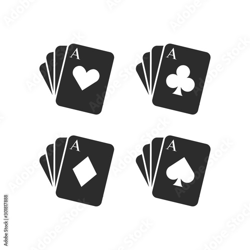 playing card suits isolated on white background Wallpaper Mural