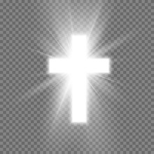 White Cross With Glow Symbol Of Christianity. Symbol Of Hope And Faith. Vector Illustration Isolated On Transparent Background