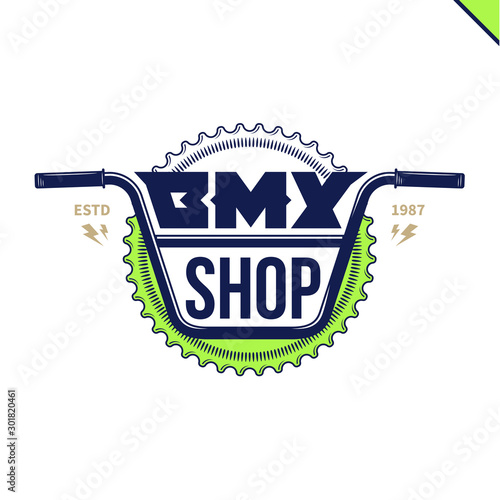 Vector bmx bike shop logo on a blue-green background Fototapet