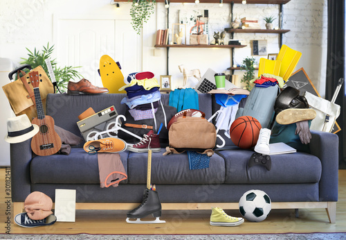Large leather sofa with a bunch of different things - 301821411
