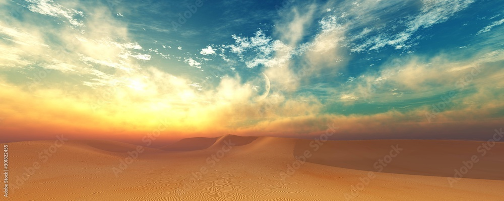 Fototapety, obrazy: Desert at sunset, Sunrise in the sand. 3d rendering.