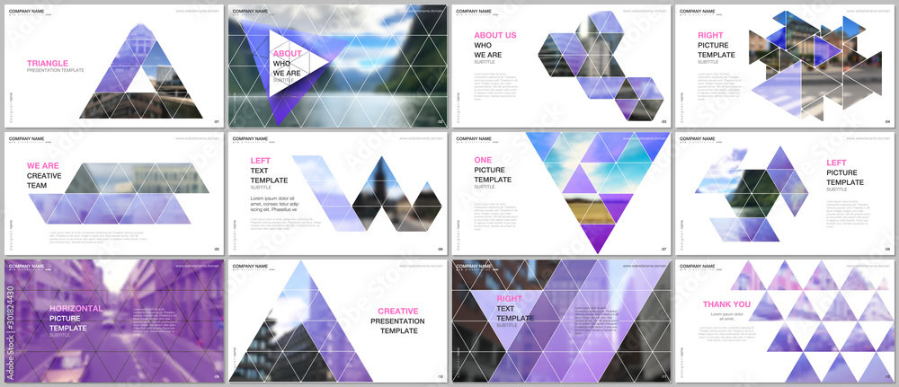 Fototapety, obrazy: Minimal presentations design, portfolio vector templates with triangular design background, triangle style pattern. Multipurpose template for presentation slide, flyer leaflet, brochure cover, report.