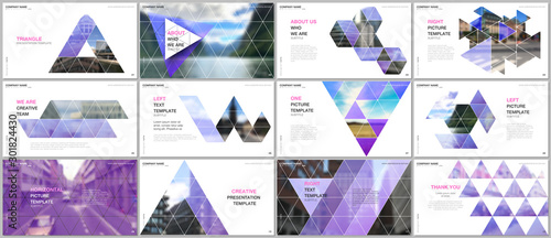 Fotografía  Minimal presentations design, portfolio vector templates with triangular design background, triangle style pattern