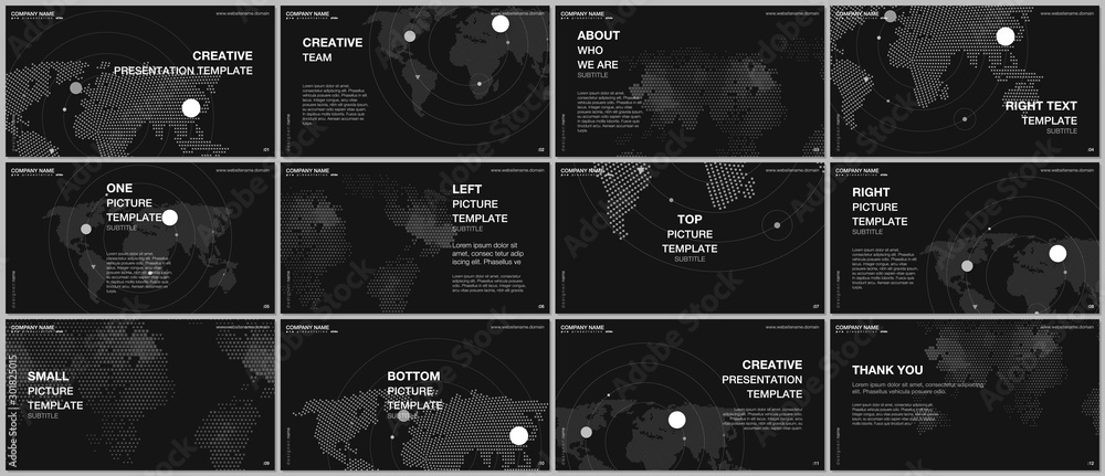 Fototapety, obrazy: Presentation design vector templates, multipurpose template for presentation slide, flyer, brochure cover design, report presentation. World map concept backgrounds with world map infographic elements