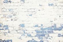 Pastel Blue Brick Wall White Peeling Paint Background