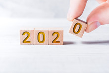 The Year 2020 Formed By Wooden...