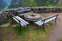 Empty Picnic Table And Benches...