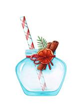 Glass Jar With Christmas Decor...