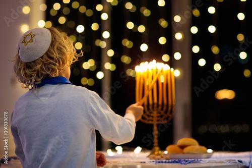 Fototapeta Kids celebrating Hanukkah. Festival of lights. obraz