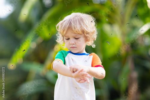 Fototapeta Mosquito on kids skin. Insect bite repellent. obraz